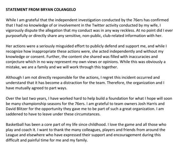 colangelo statement